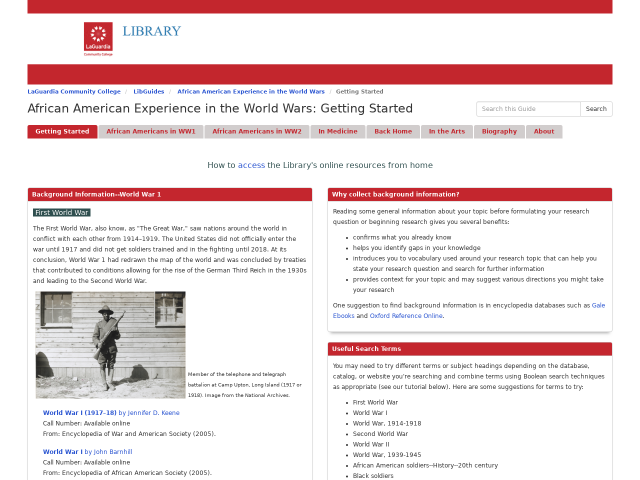 screenshot of the library guide to resources on African American experience in the world wars