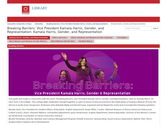 screenshot of library guide Breaking Barriers: Black women
