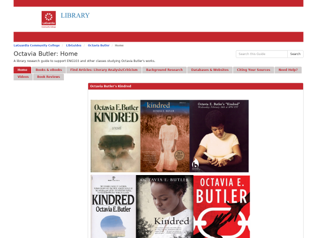 screenshot of library guide on Octavia Butler